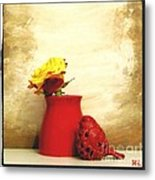 Red Vase Red Bird And Red Yellow Rose Metal Print by Marsha Heiken