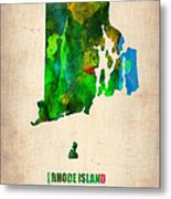 Rhode Island Watercolor Map Metal Print by Naxart Studio
