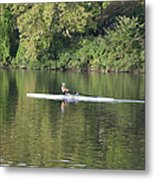 Schuylkill Rower Metal Print by Bill Cannon