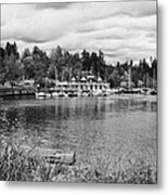 stanley park coal harbour and Vancouver rowing club marina BC Canada Metal Print by Joe Fox