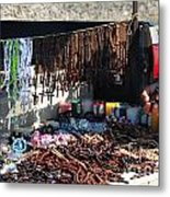 Street Vendor Selling Rosaries Metal Print by Amy Cicconi