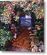 The Blue Garden Gate Metal Print by David Lloyd Glover