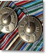 Tibetan Prayer Bells On Woven Scarf Metal Print by Anna Lisa Yoder