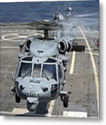 Two Mh-60s Sea Hawk Helicopters Take Metal Print by Stocktrek Images