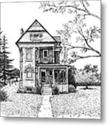 Victorian Farmhouse Pen And Ink Metal Print by Renee Forth-Fukumoto