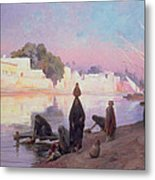 Washerwomen On The Banks Of The Nile Metal Print by Eugene Alexis Girardet
