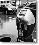 water soaked coin and credit card parking meter on the streets of downtown Vancouver BC Canada Metal Print by Joe Fox