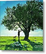 women and dog and Beautiful Greens Metal Print by Boon Mee