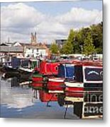 Worcester Diglis Basin Narrow Boats Metal Print by Colin and Linda McKie