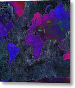 World Map - Purple Flip The Dark Night - Abstract - Digital Painting 2 Metal Print by Andee Design