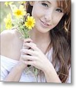 Young Woman With Flowers Metal Print by Brandon Tabiolo