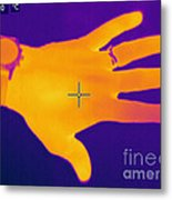 Thermogram Of A Hand Metal Print by Ted Kinsman
