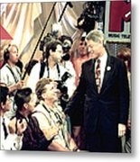Bill Clinton Appears With Young Metal Print by Everett