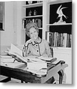 First Lady Pat Nixon Working At A Small Metal Print by Everett