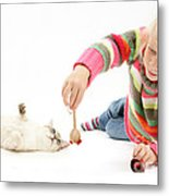 Girl Playing With Cat Metal Print by Mark Taylor