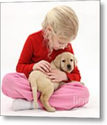 Girl With Puppy Metal Print by Mark Taylor