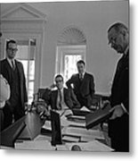 Lyndon Johnson With Former Kennedy Metal Print by Everett