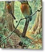 Mexican Motmots Are Perched On Jungle Metal Print by Walter A. Weber