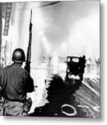 National Guard In Watts During The 1965 Metal Print by Everett