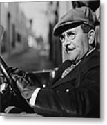 Portrait Of Man In Drivers Seat Of Car Metal Print by Everett