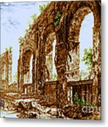 Ruins Of Roman Aqueduct, 18th Century Metal Print by Science Source
