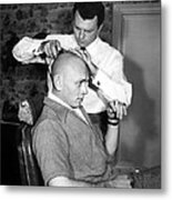 Yul Brynner Getting Shaved By Makeup Metal Print by Everett