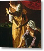 Judith And Maidservant With The Head Of Holofernes Metal Print by Artemisia Gentileschi