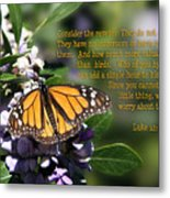 Butterfly With Scripture Metal Print by Linda Phelps