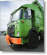 Garbage Truck Parked In A Parking Lot Metal Print by Don Mason
