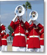 U.s. Marine Corps Drum And Bugle Corps Metal Print by Stocktrek Images