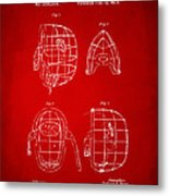 1878 Baseball Catchers Mask Patent - Red Metal Print by Nikki Marie Smith