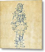 1973 Astronaut Space Suit Patent Artwork - Vintage Metal Print by Nikki Marie Smith