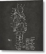 1973 Space Suit Patent Inventors Artwork - Gray Metal Print by Nikki Marie Smith