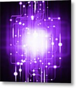 Abstract Circuit Board Lighting Effect  Metal Print by Setsiri Silapasuwanchai