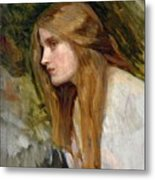 Head Of A Girl Metal Print by John William Waterhouse