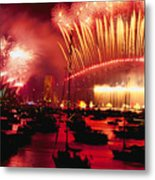 20 Tons Of Fireworks Explode Metal Print by Annie Griffiths