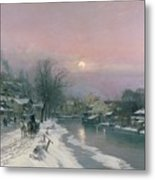 A Canal Scene In Winter  Metal Print by Anders Anderson Lundby