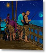 A Little Night Fishing At The Rodanthe Pier 2 Metal Print by Anne Kitzman