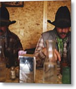 A Pair Of Cowboys Enjoy A Cup Of Coffee Metal Print by Joel Sartore