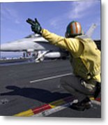A Shooter Signals The Launch Of An Metal Print by Stocktrek Images