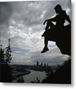 A Woman Perched On An Overlook Metal Print by Lynn Johnson