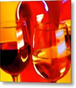 Abstract Bottle Of Wine And Glasses Of Red And White Metal Print by Elaine Plesser