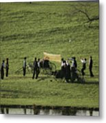 Amish Buggies Anchor A Volleyball Net Metal Print by Ira Block