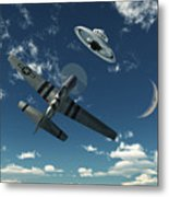 An American P-51 Mustang Gives Chase Metal Print by Mark Stevenson