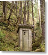 An Outhouse In A Moss Covered Forest Metal Print by Michael Melford