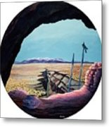 Ancient Of Jays And The Remnants Of Man Above The Taos Gorge Metal Print by Anastasia Savage Ealy
