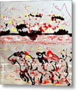 And Down The Stretch They Come Metal Print by J R Seymour