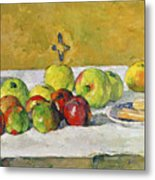 Apples And Biscuits Metal Print by Paul Cezanne
