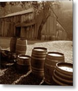 Barn And Wine Barrels 2 Metal Print by Kathy Yates