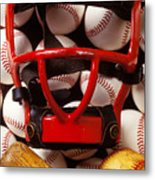 Baseball Catchers Mask And Balls Metal Print by Garry Gay